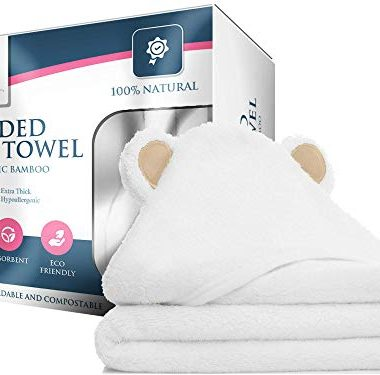 100 Bamboo Hooded Baby Towel By Mi Bella Baby Natural Hypoallergenic Soft Absorbent Durable Large White Bath Towels With Bear Ears For Newborn Essentials and Toddlers Gender Neutral Baby Gifts 0 380x375 - 100% Bamboo Hooded Baby Towel By Mi Bella Baby- Natural, Hypoallergenic, Soft, Absorbent, Durable- Large White Bath…