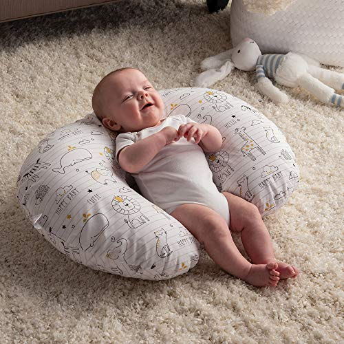 Boppy Nursing Pillow and Positioner 0 4 - Boppy Original Nursing Pillow and Positioner, Notebook Black and Gold, Cotton Blend Fabric with allover fashion