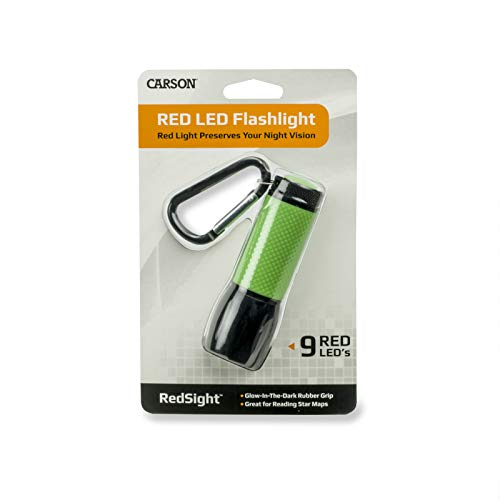 Carson RedSight Red Led Flashlight for Reading Astronomy Star Maps and Preserving Night Vision with Two Brightness Settings SL 33 Green 0 1 - Carson RedSight Red Led Flashlight for Reading Astronomy Star Maps and Preserving Night Vision with Two Brightness…